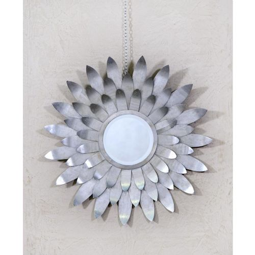 Sunburst Silver Metal Petals Decorative Wall Mirror
